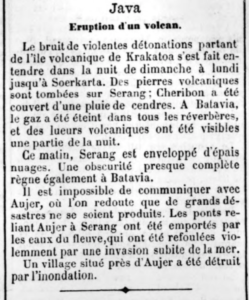 le monde 29 août 1883 volcan indonésie